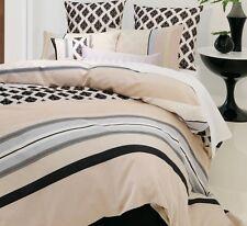 LINEN HOUSE Carmel Queen Quilt Cover Set Doona Duvet Beige Black Flocked NEW