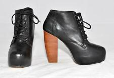 Shubar Black Genuine Leather LaceUp Ankle Concealed Sole Boots For Women Size 39