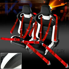 2X White & Black PVC Leather Racing Seats+Red 4-PT Camlock Racing Seat Belts