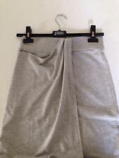POLECI  Athletic Funky Chic Draped Light Gray Faux Wrap Maxi Long Skirt  S