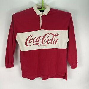 VTG 90's Coca-Cola Colorblock Spellout Rugby Polo Long Sleeve Shirt Size L Red
