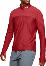 Under Armour Qualifier Mens Running Top Red Half Zip Long Sleeve Training Jersey