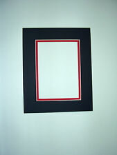 Picture Framing Double Mat 11x14 for 8x10 photo Black with Red Liner