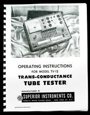 Superior TV12 TV-12 Tube Tester Operating Manual with Tube Test Data