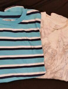 Boys BRAND NEW blue striped t-shirt, w/BONUS FREE pirates tshirt, size XL 14/16