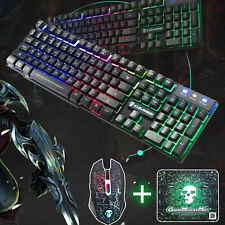 394350135a7 Keyboard Mouse Set PC PS4 PS3 Xbox One 360 T6 Gaming Rainbow Backlit  Mechanical