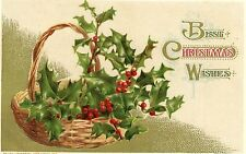 "JOHN WINSCH ""BEST CHRISTMAS WISHES"" EMBOSSED UNPOSTED POSTCARD 1914"