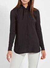 Lysse Vanessa Top Womens Size Medium Black High Neck Knot Keyhole Back Tunic L/S