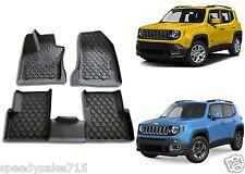 OEM Mopar Black Rubber Slush Floor Mats For 2015-2018 Jeep Renegade New