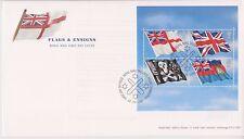 No se han abordado GB Royal Mail FDC 2001 hoja de sellos banderas & Ensigns tallents PMK
