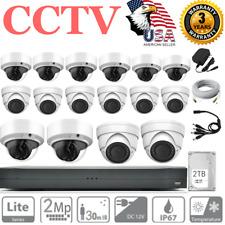 Cctv 16Ch 1080P 2Tb Hdd Dvr 16 Night Cameras Home Security Surveillance System