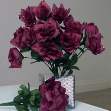 84 Burgundy SILK OPEN ROSES Wedding Discounted Flowers Bouquets for Centerpieces