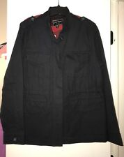 Lucky Women's Sz L Large Black Military Utility Jacket Blazer Buffalo Check Back