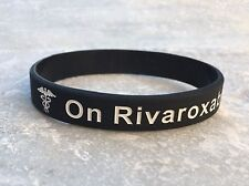 On Rivaroxaban Medical Alert Wristband ID Black Silicone Men Womens Adult Ladies