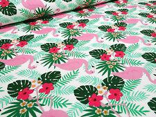 Stoffrest 28x150cm Baumwolle Sweatshirtstoff Flamingos Blumen weiß rosa