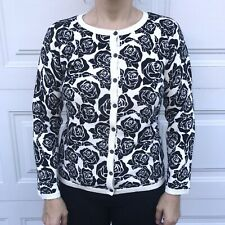 ben sherman wmns cardigan woman's floral rose black & cream mod rare MEDIUM M