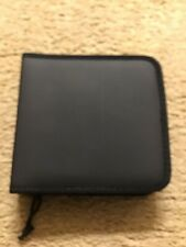 Black Faux Leather Travel CD Holder Case Holds 24 CDs