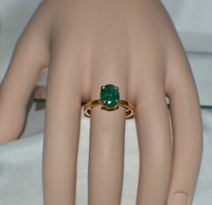 3.50 ct.  NATURAL GENUINE AFRICAN EMERALD GYPSY .925 STERLING SILVER RING YG.