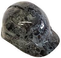 Hydro Dipped Hard Hat Light Grey Filigree Skulls w/ Free BRB Customs T-Shirt