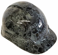 Hard Hat Light Grey Filigree Skulls w/ Free BRB Customs T-Shirt
