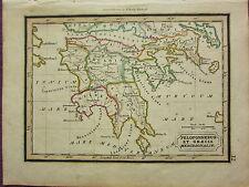1832 SMALL ANCIENT MAP ~ PELOPONNESUS ET GRAECIA MERIDIONALIS LACONIA ARCADIA