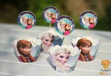 Cupcake Cup Decorating,Toppers Wrappers PARTY DECORATION, Frozen Elsa Anna