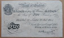 More details for peppiatt january 1944 war years bank of england white five pound note