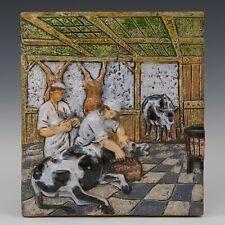 Westraven Utrecht, Luigi Amati: large heavy reliëf tile, butcher, 70's.