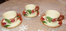 Vtg. Franciscan  Red Apple Cups & Saucers England 3 Sets 1995 Excellent