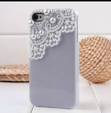 Purple Lace Hard Back Case Cover For Apple iPhone 4s 4 w/ Screen Protector + Pen