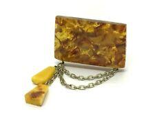 Old Vintage Amber BROOCH Antique Pressed Natural Baltic Amber Beads 16,3g 9699