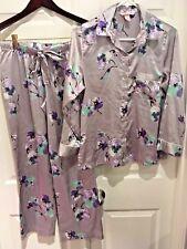 VICTORIA SECRET Afterhours satin pajama set $72 Gray Floral Silve Shiny Sexy XS