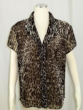Evan Picone 22W Blouse Top Short Sleeves Leopard Print Button Front Brown Lined