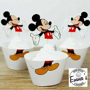 24Pcs Mickey Mouse Cupcake Wrapper/Topper Set Birthday Cake Party Disney