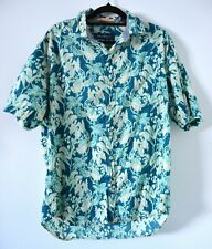 Tommy Bahama Mens Hawaiian Shirt Size Medium Blue Grey Short Sleeve Cotton
