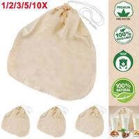 Lot 100% Organic Cotton Nut Milk Bag Reusable Food Strainer Tea Juice Filter