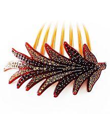 QUALITY ACRYLIC Hair Comb use Swarovski Crystal Hairpin French Twist LEAF Brown
