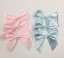 SATIN RIBBON PRE TIED BOWS LARGE 6cm wide BABY BLUE PINK MIX PACK 20mm variety
