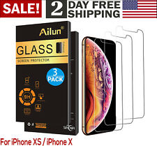 For iPhone Apple XS Laser Cut Tempered Glass Screen Protector 3 Pack Antiscratch