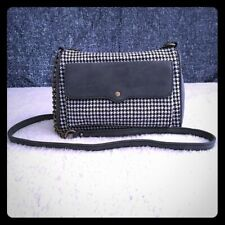 Women`s Black and White Houndstooth Crossbody Hand bag