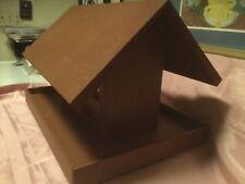 New Lg.Bird Feeder Wooden W/Glass & Pole Mount 17�L X 12�H X12�D Edge Is 3 3/4�