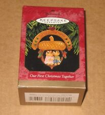 HALLMARK ORNAMENT ~ OUR FIRST CHRISTMAS TOGETHER ~ CHIPMUNKS w/ ACORN SWING 1997