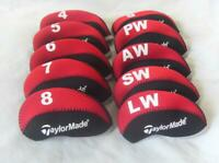 10PCS Protective Club Covers RH for Taylormade Iron Headcovers 4-LW Red&Black
