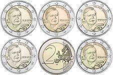 2 Euro Helmut Schmidt 2018 Komplett-Satz mit 5 Münzzeichen A D F G J bankfrisch