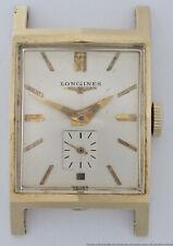 Large 14k Gold Faceted Long Vintage Deco Mens Longines 1950s Wrist Watch