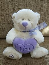 Plush Teddy Bear Purple Bow & Heart Kiss White Stuffed Animal from Target