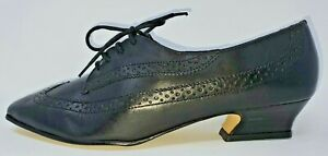 Vintage 80s Black Leather Victorian Style Oxford Brogue Witch Witchy Shoes sz 8