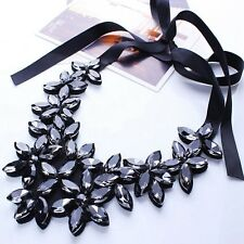 New Fashion Luxury Chunky Crystal Black Flower Pendant Bib Statement Necklace UK