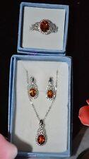 Santa Ana Madeira Citrine Topaz Ring Sz7 Earrings Pendant in 925 SS  3pcs Set