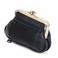 Black Woman's Leather Dual Compartments coin large purse Zip holder